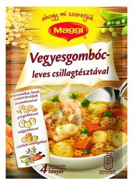 Vegyesgombóc leves csillagtésztaval Maggi – Soup sachet with different filling